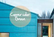 Copper Color : Green / Celui que l'on appelle le métal rouge peut aussi être vert ! Le cuivre change de couleur au fil du temps avec le processus naturel de l'oxydation. Sa patine vert amande est la plus emblématique. Elle est particulièrement prisée en architecture. Panorama ! / by Copper Mania