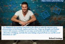 Richard Armitage - Cybersmile / This board contains RA's interviews and posts related to Cybersmile, reactions to his posts on fan blogs, fan edits, tweets, all related to RA's activity for Cybersmile; all pins have a link to their source; the crop/image of the post has no particular relevance, so please follow the link and read the entire post; if you comment here, be aware of the fact that the author might not see  your comment.  NOTE FOR BLOGGERS: please contact me if you want me to remove or change the pin with your post.