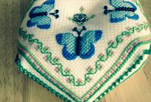 Biscornu love / Biscornu black work and cross stitch