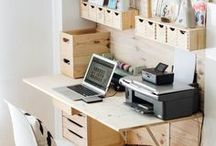 Kotitoimisto - Home office / Ideoita kotitoimistoon: paperit, johdot, työpöytä, säilytystilat, sisustus. Tavoitteena toimiva toimisto!
