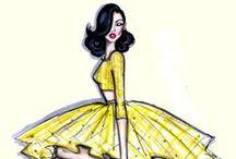 Elegant Ilustration with Dogs // Glamour // Black Hair Women