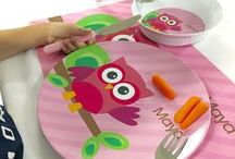 Personalized Plates for Kids / A few of our best-selling personalized plates for kids. Made in the USA, BPA-Free Melamine, dishwasher safe and virtually indestructible.