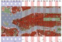 "PlanosUrbanos, colección ""Metrópolis del XXI"" / Arte cartográfico, mapas o planos de ciudades para coleccionar, decorar o regalar. Disponibles en www.juniqe.com/planos-urbanos"