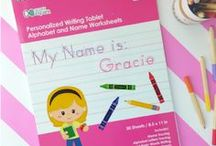 Educational Gifts for Kids / Our most popular educational gifts, created by two moms. Our personalized writing books and personalized placemats are designed for kids ages 4-6.  They can be personalized with your child's hair color and ethnicity.