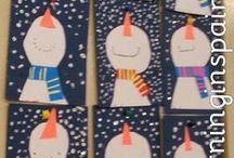 Winteractiviteiten / Voor groep 1-2 activiteiten m.b.t. knutselen, tekenen, rekenen, taal, schrijven.