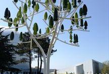 Prototype 2. Cité des télécoms (Fondation Orange) Pleumeur-Bodou / Second prototype de l'Arbre à vent planté à la Cité des télécoms, lieu ouvert au public. Avril 2014
