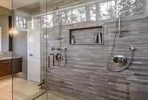 BATHROOM NICHES / Great ways to install niches in your bathrooms. The key to designing your niche is based on what trim pieces are available. Using curved frames and trims in your shower or bath stall adds dimension and depth to your tile design. / by Wendy Clarke / Unique Design Resource
