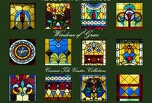 Windows of Grace / Sets of Four Ceramic Tile Coasters from the photographic œuvre of Alice Lynn Greenwood inspired by 19th Century Prairie Style Motifs found in the jeweled windows of Grace Episcopal Church in historic Carthage·Missouri -  ORDERS:  art@alicelynn.com   www.alicelynn.com/windows-of-grace.html - 417·825·0706