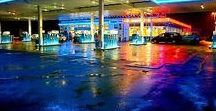 """Rainy Eighties / Yes, in the eighties, my adored reference in photography was an image of a gas station in a rainy night. Neon signs, reflections, intense colors. A little steam or smoke helped. The """"Flatliners"""" -look in a way..."""