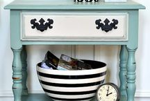 DIY furniture updates! / Stenciled, painted, fabric covered furniture