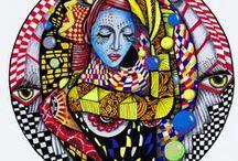 """Illustration *Muié Colores* / """"Um traço que se aproxima da alma. Cores que dialogam com a complexidade do feminino. Mulheres de um imaginário espalhado pelo mundo em que vivemos.  O olhar de um artista que, como elas, enxerga o outro em si.""""  Andrea Ferraz (Cineasta de Recife)  """"Muié Colores é a primeira exposição dos desenhos e pinturas criados ao longo de 3 anos.   O mais curioso é que o Juliano, apesar de daltônico, expressa o sentimento em cores. Do preto e branco, suas obras coloriram-se.""""  Rafa Cambará"""