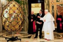 """Present for the Pope / Preciosa crystal stones were used for decoration of a giant gold-plated """"Egg with Alphabet"""", which the Bulgarian president Rosen Plevneliev donated to the Pope Benedict XVI. at the occasion of the Saints Cyril and Methodius Day in May 2012."""