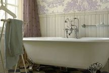 """Bathrooms / Say """"no"""" to boring bathrooms! Spruce yours up with some vintage wallpaper love."""