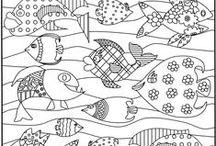 Kalat -värityskuvia ja sabluunoita