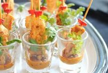 Savory Shooters / Love tiny portions of food?  This board is full of tiny-portioned party favorites that will keep you satisfied but not full!  Each one comes in it's own small serving dish!
