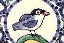 bird tiles / Painted by Reptile tiles http://www.reptiletiles.co.uk/