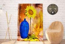 Spring / Wiosenne dekoracje do domu. Motywy kwiatowe, słoneczne kolory i zielone dodatki.