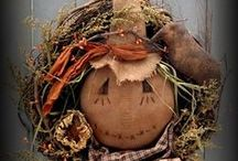 Prim Fall Wreaths / Decorating with Fall Primitive Wreaths