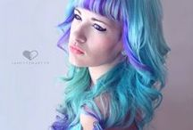Colourful hair (bluey purples)