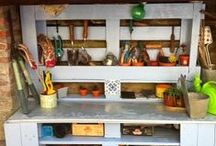 Re-Scape Potting Benches / Re-Scape wants to inspire you by sharing all kinds of ideas for creating potting benches from recycled, repurposed and reclaimed materials!