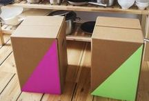 CRAFTY CARDBOARD STOOL / Our stool H1 is coloring up your apartement. Unser Hocker H1 zaubert Farbe in jede Wohnung.