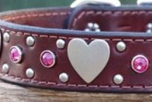 Girl Dog Collars / Hearts, Flowers, and Peace signs abound! These pretty girl dog collars are decorated with Swarovski crystals, turquoise spots, simple metal studs, and heart, butterfly, or flower conchos.