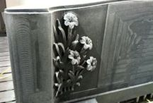 Shapemill and tombstone / Breton Shapemill and #tombstone with two bunches of flowers carved in relief