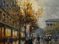 Paris Street Scene Paintings / Paintings by the artist Edouard Cortes (1882-1969) and by the artist Antoine Blanchard (1910-1988)