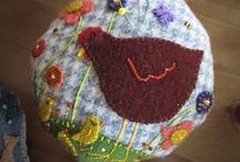 Pincushions / Selection of hand made pincushions. Each lovingly made from natural, new and recycled materials.
