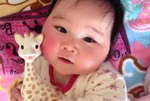 赤ちゃん写真 japanese baby photos / キリンのソフィーと赤ちゃんの可愛い写真。