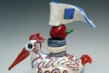 Totems by Faith / Whimsical totems / by Wee Pottage, Whimsical Totems, Art And Functional Pottery