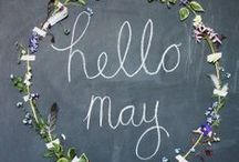 May brings flocks of pretty lambs, Skipping by their fleecy damns. / The month of May