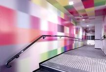 Colored wall / Colored wall, partitions, glasses, colorful, happy and nice