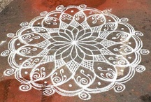 Kolam / Every morning, at dawn, Tamil women create geometrical patterns with white rice powder in front of their thresholds, hoping deities will lean on their houses. The practice of kolam is also a symbol of hospitality and kindness towards people walking by the house.