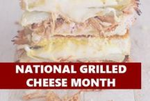 "National Grilled Cheese Month / ""April is National Grilled Cheese Month, a perfectly delicious excuse to create your own melty, savory concoction of cheese and whatever else you can think of."""