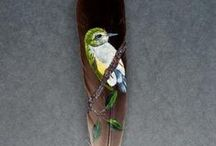 Birds of a Feather / Paintings on feathers by Beth McGill