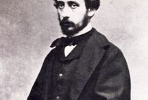 Degas, Edgar / Born Hilaire-Germain-Edgar De Gas. A French artist famous for his paintings, sculptures, prints, and drawings. He is especially identified with the subject of dance; more than half of his works depict dancers. He is regarded as one of the founders of Impressionism, although he rejected the term, preferring to be called a realist. 19 July 1834 – 27 September 1917