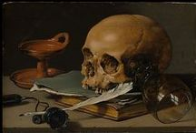Claesz, Pieter / A Dutch Golden Age painter of still life. He was influenced by the artist movement 'Vanitas'. Vanitas symbols include skulls, a reminder of the certainty of death; rotten fruit (decay); bubbles (the brevity of life and suddenness of death); smoke, watches, and hourglasses, (the brevity of life); and musical instruments, fruit, flowers and butterflies (brevity and the ephemeral nature of life). A peeled lemon was, like life, attractive to look at but bitter to taste.  c. 1597–1 January 1660