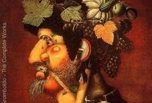 Arcimboldo, Guiseppe / An Italian painter best known for creating imaginative portrait heads made entirely of objects such as fruits, vegetables, flowers, fish, and books. Arcimboldo is known as a 16th-century Mannerist. A Mannerist tended to show close relationships between human and nature. 1527 – July 11, 1593