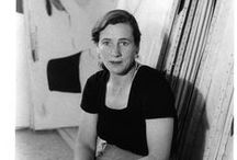 "Martin, Agnes Bernice / Agnes Bernice Martin (March 22, 1912 – December 16, 2004), born in Canada, was an American abstract painter. Often referred to as a minimalist, Martin considered herself an abstract expressionist. Her work has been defined as an ""essay in discretion, inwardness and silence"".  She was awarded a National Medal of Arts from the National Endowment for the Arts in 1998."