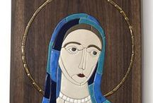 madonna / Madonna is original handmaded porcelain mosaic set in wood. It is 45cm high.