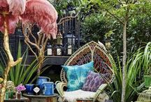 Bohemian Interiors / Ideas and inspiration for the boho trend. Think rattan peacock chairs combined with lush house plants, to create an eclectic bohemian interior.