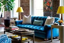 Home : Navy Interior / Paint walls in Navy Blue, Navy sofa and all details.