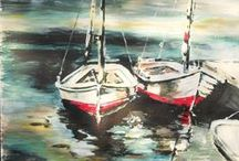 Eigen werk: Schilderijen Acryl op papier / Deze schilderijen zijn in te lijsten. Geschilderd door Christa Beldman-Waanders