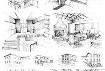 freehand sketching / products/archtitecture/interiors techniques + examples
