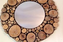 """Real Wood"" framed mirror / Cut tree branches in various sizes,dried and glued to create a fantastic bespoke framed mirror"