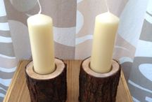 Branch Candle holders / Simple but effective, tree branch cut to size with glass bowl fitted and finished with a coat of satin clear wood varnish