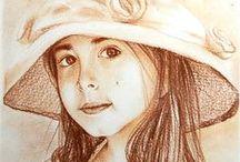 Portrait / Portrete realizate in creion pe carton, cerneluri pe carton ori ulei pe panza