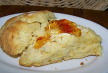 Recipes--Scones / Scones are so good for breakfast or tea in the middle of the morning.  Cornmeal scones are good with Chili or Baked Beans on a Saturday night.  We put Hot Pepper Jelly on them or honey; either one is super for supper.  / by Courtney Ricker
