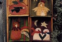 Dish Towel Ideas To Make / I like cute dish towels and they can be made of homespun cloth or store-bought homespun towels and then appliqued with the applique-stitch on your machine.  I love the primitive look.  The designs below are not all dish towels, but could be designed  to fit one.  Some are towels, and you will be able to spot them, or make placemats....adorable, and they would make good gifts.  Any of these designs could be embroidered.  / by Courtney Ricker